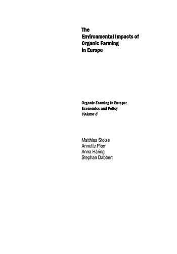 Book Cover: The environmental impacts of organic farming in Europe