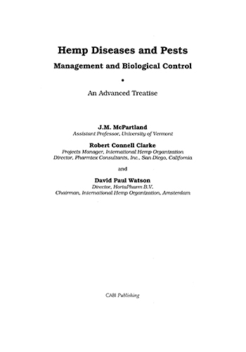 Book Cover: Hemp diseases and pests: Management and biological control